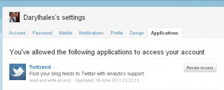 twitzend.info spam application settings